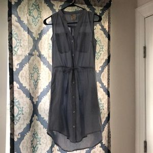 Small blue and white pinstripe dress high low hem